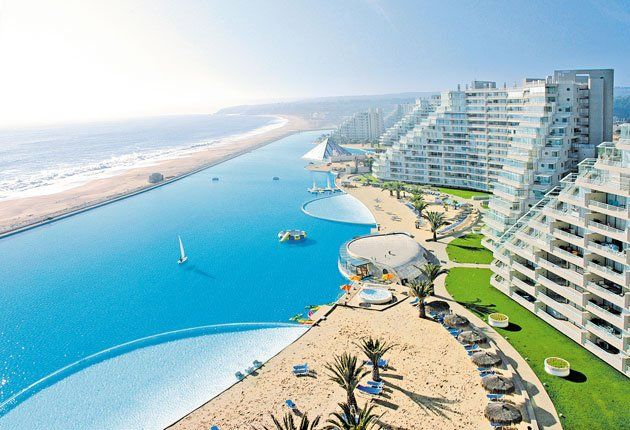 World's Largest Outdoor Pool: The Crystal Lagoon, located at the San Alfonso del Mar resort in Algarrobo, Chile.