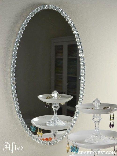 Diy glass bead mirror crafts pinterest for Espejos para pegar