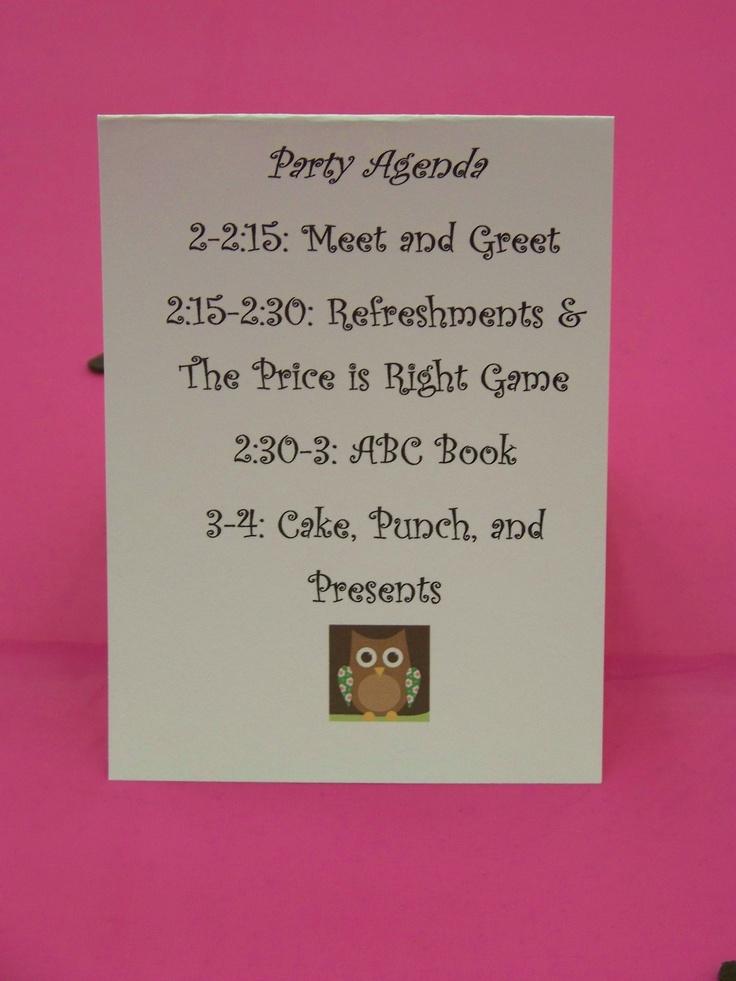 baby shower schedule via sharilyn dunn pauls