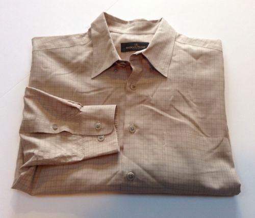 Bugatchi Uomo Long Sleeve Button Up Tan Mens Shirt L Large