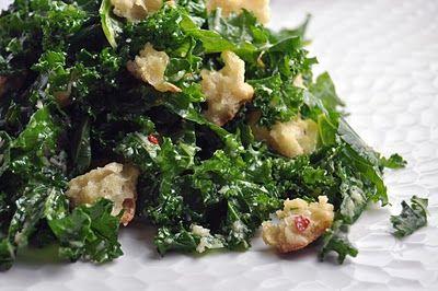 Taste: Raw Kale and Bread Salad with a bright lemony garlic dressing ...