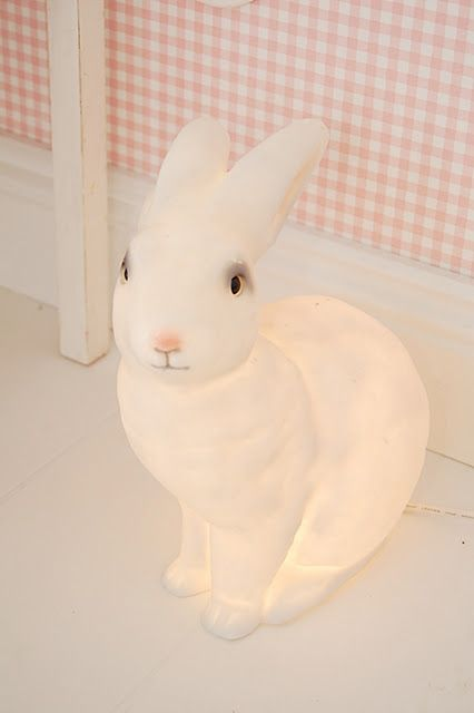 <3 Lolly's night light lamp in her room, we love this bunny lamp!