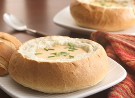 Beer-Cheese Soup in Bread Bowls