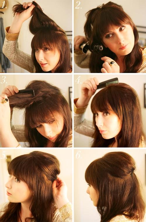 Прическа в домашних условиях с челкой на длинные волосы
