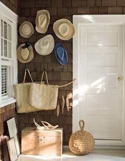 Straw hat and bag display