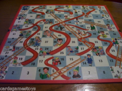 1960's Vintage Chutes and Ladders Game Replacement Part: Game Board E ...