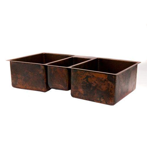 Hammered Copper 42 Inch Triple Bowl Kitchen Sink Premier Copper Produ ...
