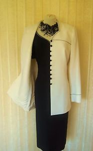 New CONDICI Wedding Outfit Size 14 Navy Black Cream Dress And Jacket