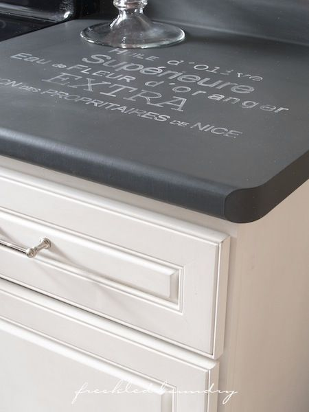 Chalk paint counters and cabinets