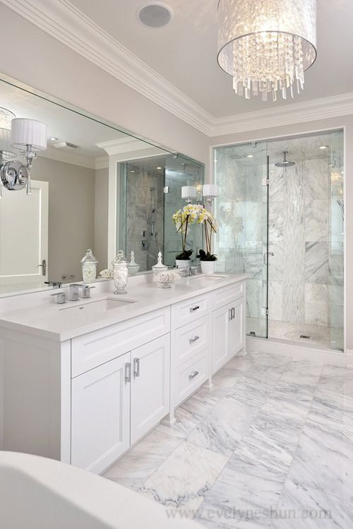 All white bathroom master bathroom pinterest for Master bathroom white