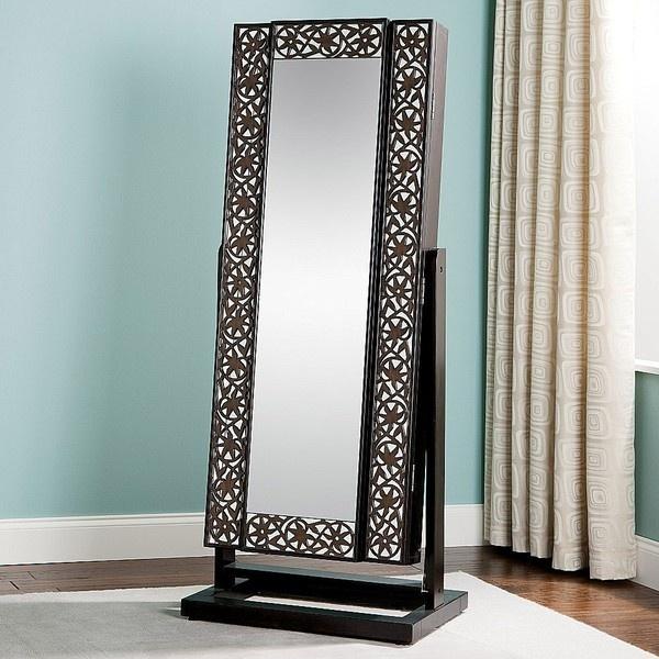 Jewelry Armoire Mirrored Lattice Front Interior Design