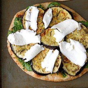 Vegetarian Eggplant Naan Pizza with Cilantro Jalapeno Pesto   Recipe