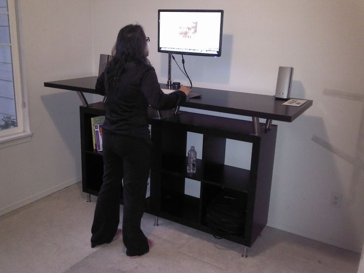 Stand up desk hack from ikea parts office spaces pinterest - Stand up office desk ...