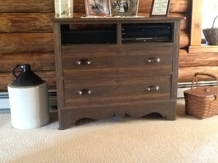 oak dresser up cycled to TV and electronic stand