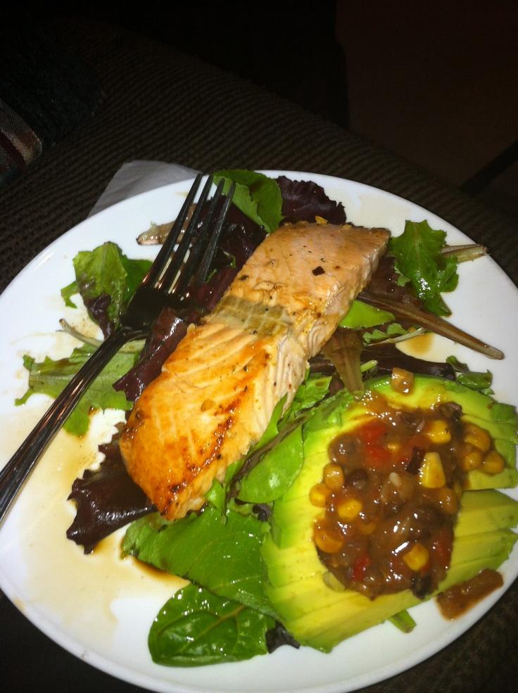 ... half avocado with black bean & corn salsa. RedFoxFitness.com