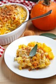 Halloween dinner. Pumpkin Mac n Cheese with Amaretti Crust