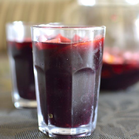 fruity red wine sangria, spiced with a hint of cinnamon