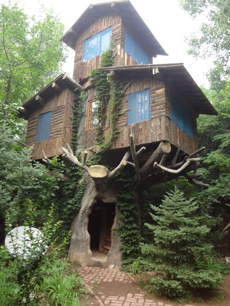 A three-storey treehouse in the woods