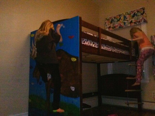 Bed with Rock Climbing Wall