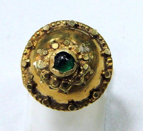 vintage antique 20 k gold emerald ring 7532