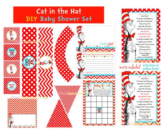 cat in the hat baby shower package invite diy printable set baby