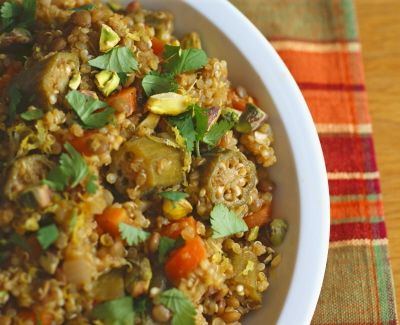 Moroccan-Spiced Quinoa Pilaf with Okra--easy vegan and whole foods ...
