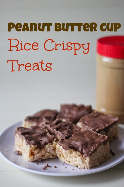 Peanut butter cup rice crispy treats made these today and they re not