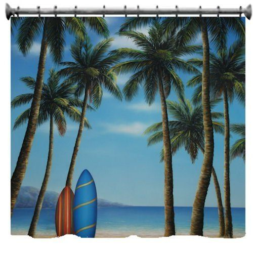 beach theme shower curtain minus the surf boards