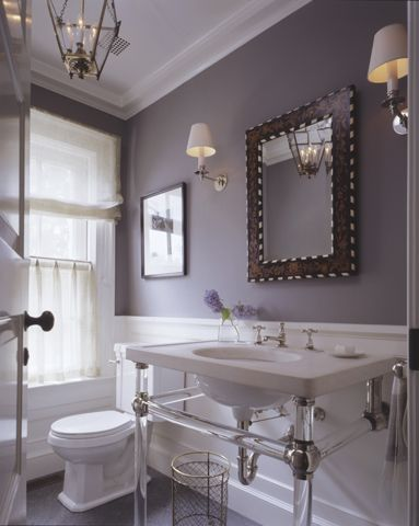 Gray And Lavender Bathroom