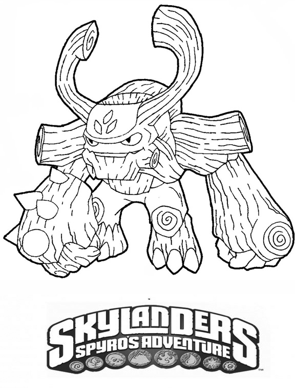 tree rex skylander free colouring pages