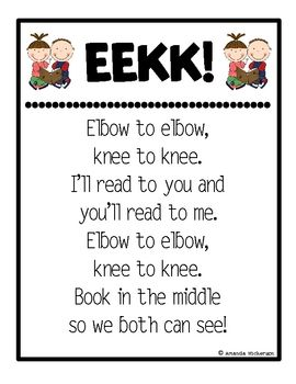 FREE from One Extra Degree on TpT. Use this poster to remind your little sweeties to sit elbow-to-elbow