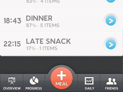 Ui interface menu meal tracker