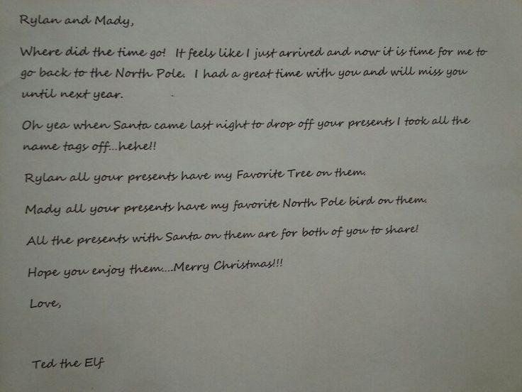 Goodbye letter...elf on the shelf | Holidays | Pinterest