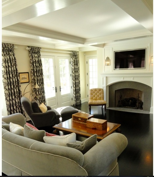 Pin by katie kimble on dream house and garden pinterest for Furniture placement with tv and fireplace