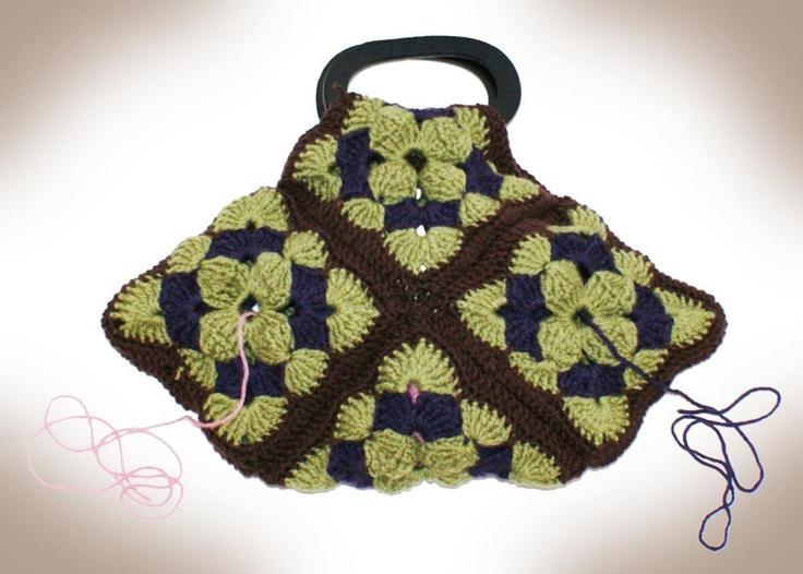 Granny Square Purse or Yarn Stash Bag Crochet Pinterest