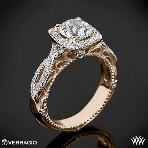 20k Rose Gold Verragio 4 Prong Cushion Halo Diamond Engagement Ring