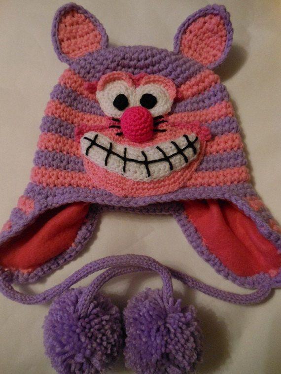 Cheshire Cat Amigurumi Pattern : Cheshire Cat Earflap Hat Crochet Pattern