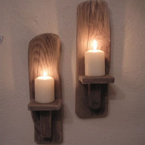 Driftwood Candle Wall Sconces : 2 Driftwood Wall Candle Sconces from Ireland