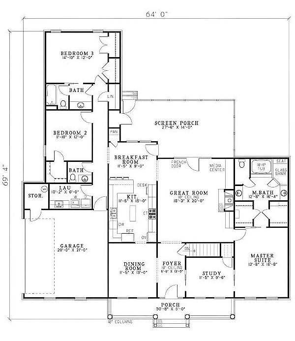 Country ranch house plan 61097 for Country ranch floor plans