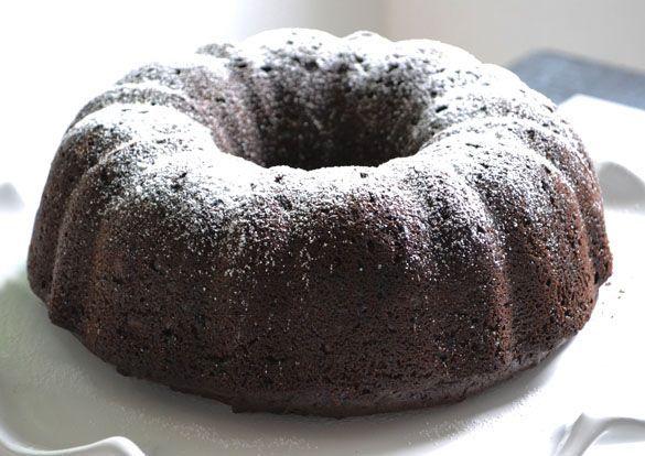 deep dark chocolate sour cream zucchini cake