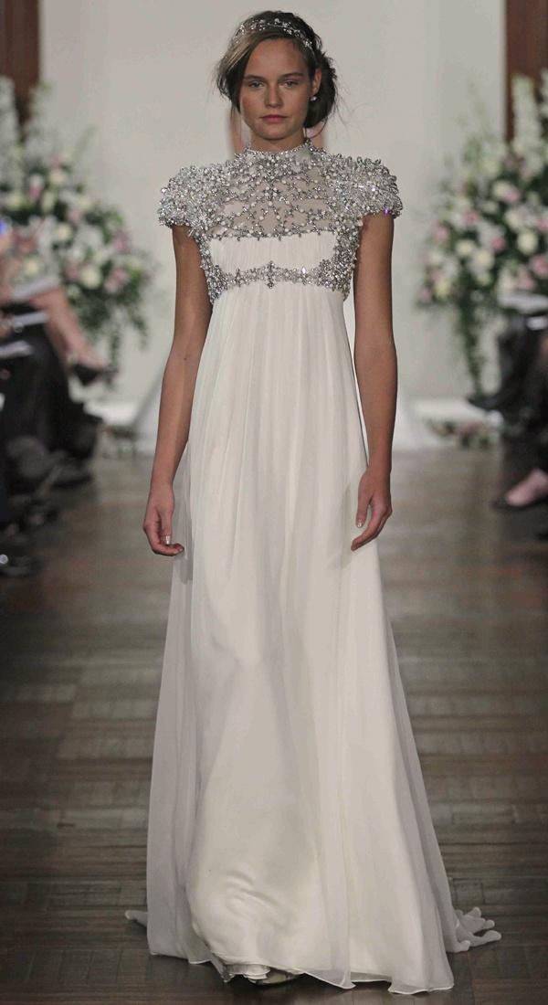 High collar jennypackham wedding dress dresses pinterest for High collared wedding dress