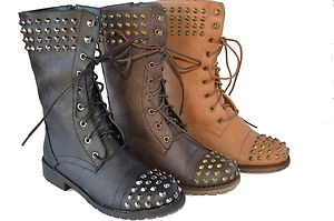 New Womens Military Combat Studded Boot Lace Up Women Fashion Boots