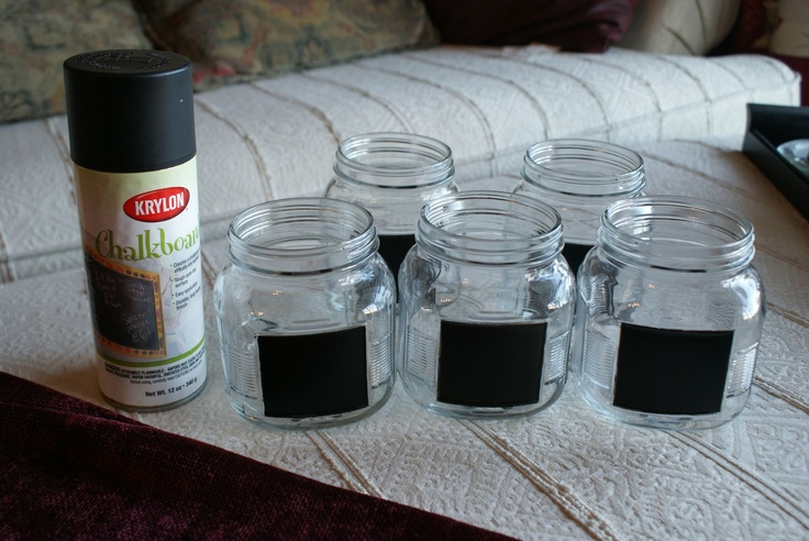 needed mason jar spray paint chalkboard type tape i like the. Black Bedroom Furniture Sets. Home Design Ideas