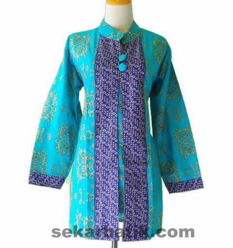 cardigan batik biru keren | Modern Batik Sekar | Pinterest