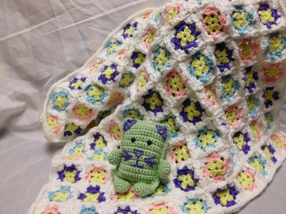 Flower Garden Baby Blanket with Kitty