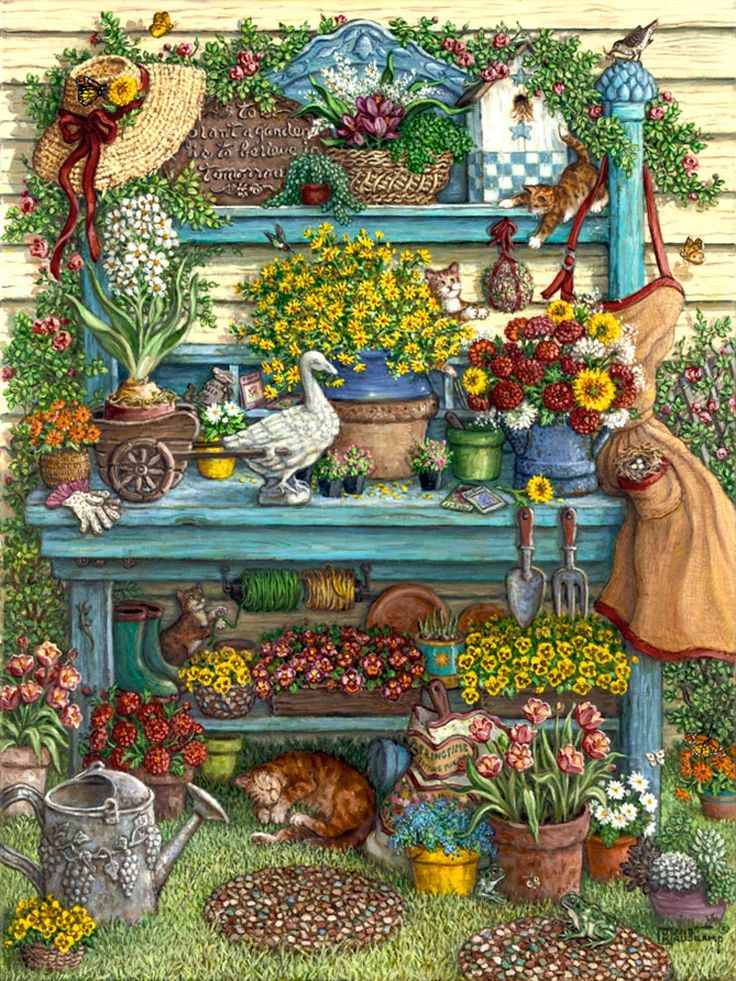 Janet kruskamp 39 s paintings welcome to spring a beautiful blue potting bench against the side - Garden bench ideas complete piece heaven ...