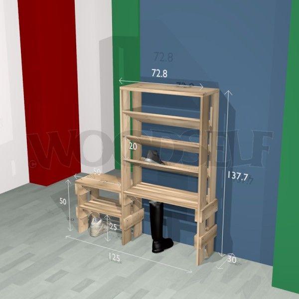 woodworking plan for shoe rack desk project. Black Bedroom Furniture Sets. Home Design Ideas
