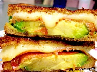 Grown Up Grilled Cheese w/ avocado and tomatoes. Mmmm. amycoxen