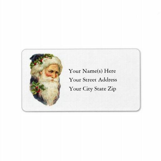 Portrait of Father Christmas Vintage Address Label