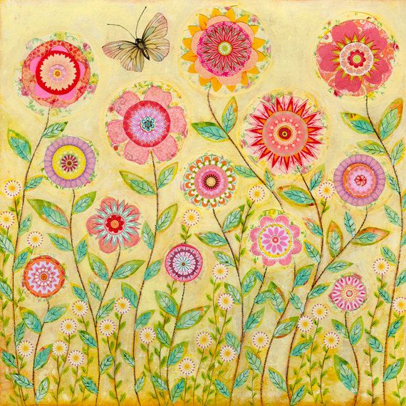 Folk art collage flower original painting mixed media art for Art flowers